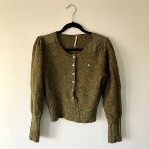 Free People Olive Green Cropped Sweater